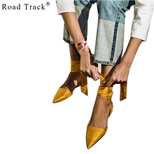 RoadTrack 2017 Spring Women Flats Pointed Toe Ankle Straps Cross Straps Satin Hollow Flats  Bow Tie Rubber Solid Casual 0750-5