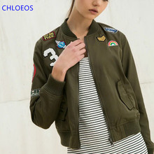 bomber jacket women 2017 The new green long sleeved woman flight jacket pocket badges windbreak where is my mind bf(China)