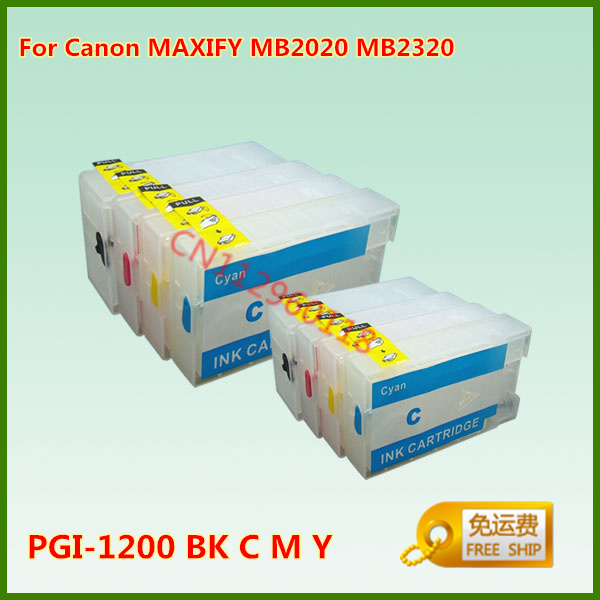 PGI-1200 PGI-1200XL Refillable Ink Cartridge For Canon MAXIFY MB2020 MB2320 Printer With Chips 4Pcs<br><br>Aliexpress