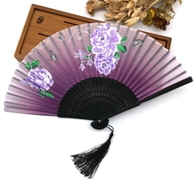 Free Shipping 1pcs High Quality Black Rib Pocket Fans Elegant Plum Blossom Flower Folding Hand Fan Summer Women Girl Dancing Fan