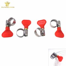 4pcs/lot,Butterfly Stainless Steel Mini  Pipe Clamp Hose Clamps Clip Fit 10mm O.D ~ 16mm O.D Tubing
