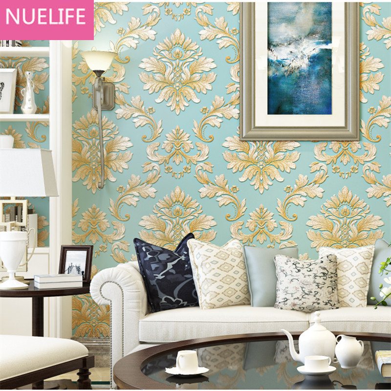 0.53x10m European-style 3d embossed Damascus flower pattern non-woven  wallpaper bedroom living room wedding shop wallpaper<br>