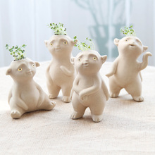 New small ceramic pots cartoon flower planter creative ornaments small desktop plant garden gifts