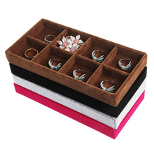 Velvet Jewelry Ring Earrings Display Box Tray Holder Storage Showcase Organizer 4 Colors-W128