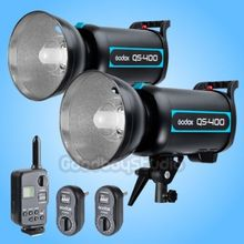 2PCS Godox QS-400 QS400 400W 400 Ws Studio Flash Strobe Light Lamp with FT-16 Flash Trigger ( 1 Transmitter + 2 Receiver )(China)