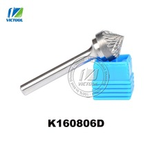 Tungsten carbide K type cone 90 degree 16*8mm rotary burr file cutter grinding and abrasive tool K160806 6mm shank milling tools