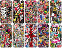 Wholesale lot JDM Sticker Plastic Hard Cell Phone Cover For iphone 4 4S 5 5S SE 5C 6 6S Plus For iPod Touch 4 5 6 Mobile Case(China)