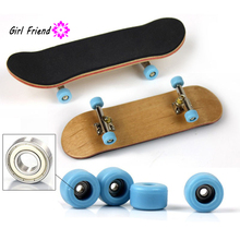 Finger Bikes Bearing Wheels Skid Pad Maple Wood Finger Skateboard Alloy Stent Bearing Wheel Fingerboard Novelty Kids Toys(China)
