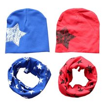 Fashion Kids Cotton Baby Hat Scarf Children Scarf-collar Boys Girls Warm Beanies Star Print Infant Hats Baby Cap