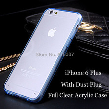New Soft Transparent TPU Full Clear Acrylic Case Cover Skin Shell  for iPhone 6 6S Plus 5.5 inch With Dust Plug 150pcs/lot