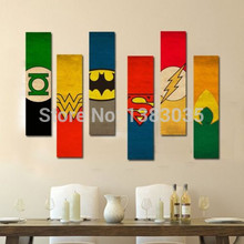 Hand Painted American Cartoon Superheros Logo Oil Painting On Canvas Modern Abstract 5 Piece Home Decor Hanging Wall Art Picture