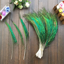Beautiful! 50pcs 12-14 inches / 30-35cm Natural Peacock Feather Sword Symmetrical For Wedding Decoration / Free shipping(China)