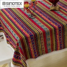Linen&Cotton Table Cloth Table Cover Decor Rustic Tablecloth Handmade Stripes Printed Woven Home Party Dining Room 1pcs/lot