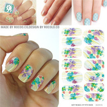 Rocooart KH017A Fashion Nail Sticker Botanical Colorful Element Water Transfer Nails Art Sticker Minx Manicure Decor Foil Decals