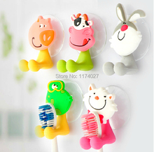 Free shipping cute Cartoon sucker toothbrush holder suction hooks bathroom set accessories Eco-Friendly