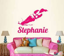 Water Ski Skiing Skier River Lake Wall Custom Girl Name Vinyl Wall Decal Sticker Home Decoration 5 Sizes 40 Colors