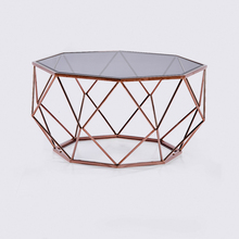 Creative design modern stainless steel metal material and glass top coffee table