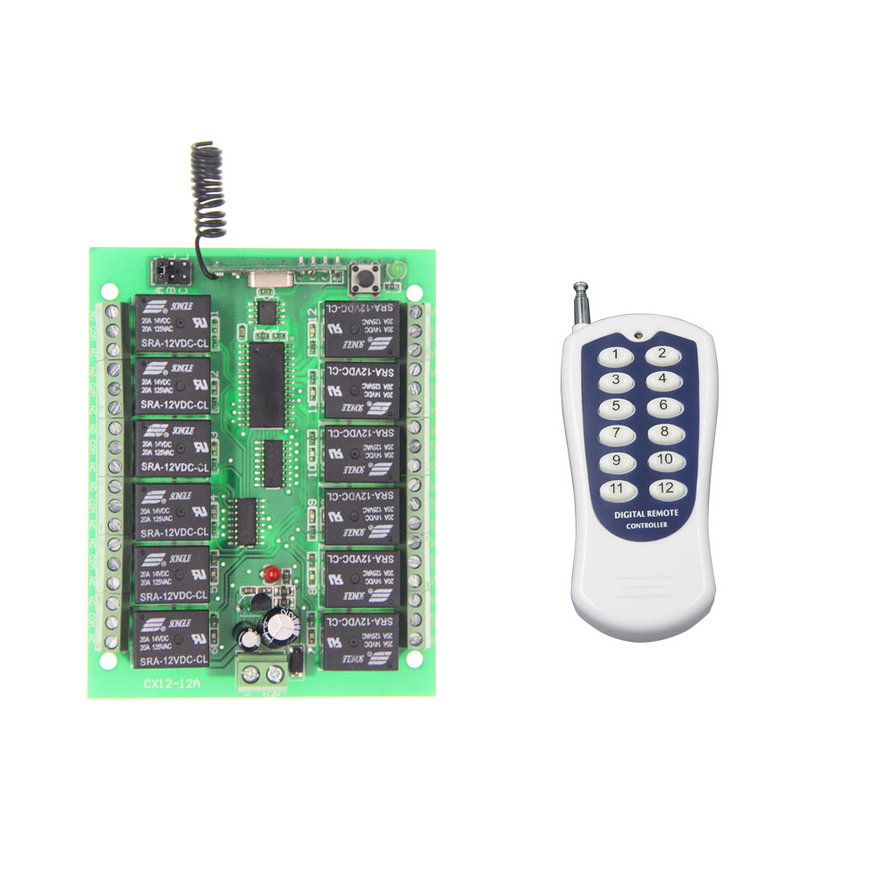 DC12V 24V 12 CH 12CH Radio Controller RF Wireless Remote Control Switch System,315/433.92 Mhz Transmitter and Receiver<br><br>Aliexpress
