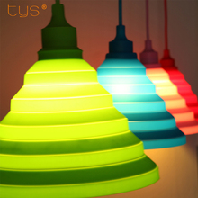 Pendant lights colorful Led E27 lamparas colgantes pendente de teto Silicone Vintage Edison lustre rope Pendant lamp light(China)