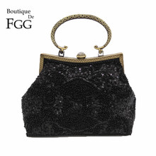 Bronze Plated Frame Women Black Sequined Evening Totes Bag Vintage Beaded Wedding Clutch Bridal Handbags Purses Metal Clutches(China)
