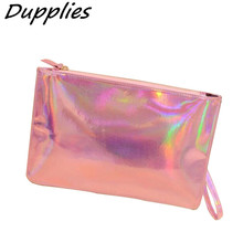 Dupplies Female Long Leather Wallet Women PU envelope clutch bag coin purse Laser Silver Color Holographic Bag Money Phone Bags(China)