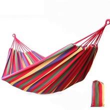 Outdoor Sports Toy Swings With Bag Portable Hammock Colorful Stripe Garden Swing Hang Bed Camping Travel Canvas Swing Hammock