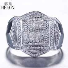HELON Finish Mens 0.88ct Genuine Natural Diamond Wedding band Ring Fashion Pinky Ring Sterling Silver 925 Fine Jewelry Mens Ring(China)