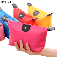 HMUNII Candy Color 13 Colors Optional Lady Travel Cosmetic Bag Nylon Waterproof Hobos Beautician Makeup Storage Bag Organizer