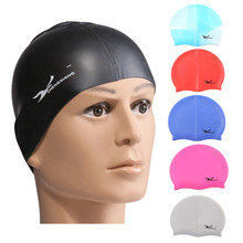 2017 New Solid Swimming Cap 100% Silicone Swimming Hats Water-proof Adult Caps Men Women Children