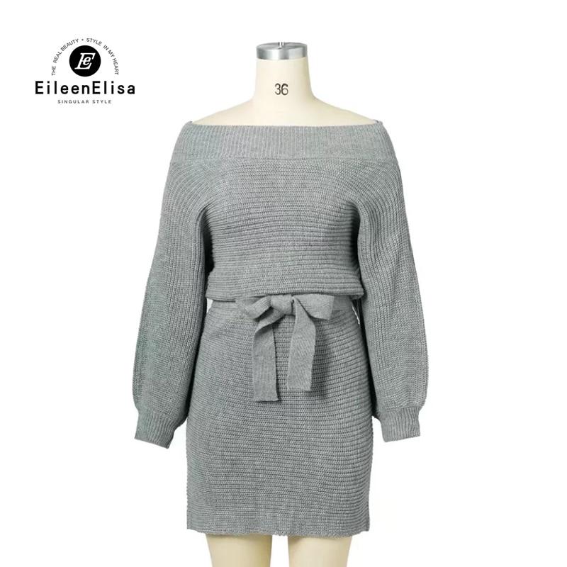 Eileen&amp;Elisa Women Autumn Winter Sweater Dresses 2017 Woman Off Shoulder Slash Neck Knitted For Knitted Dress With BeltÎäåæäà è àêñåññóàðû<br><br>