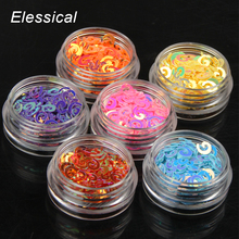 ELESSICAL 6bottles/set Holographic Sequins Nail Glitters Acrylic Powders Set For Manicure Tools DIY Nail Art Decoration WY939