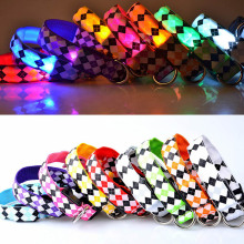 Fashion Pet Dogs LED Collar Luminous Night Safety Flashing Glowing Plaid Cat Dog Leash Harness Collars Pets Supplies 2017ing