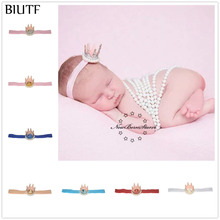 3pcs/lot Elastic Ribbon Headband with 3d Mini Crown Pearl Decorated Little Kid Cute Head Band Hair Accessories FD258