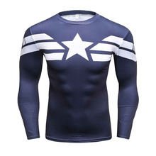 3D Printed T-shirts Captain America Civil War Tee Long Sleeve Compression Shirt Cosplay Costume Fitness running t shirts(China)