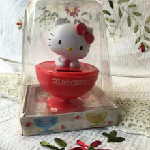 Wholesale Price 6 Pieces Per Lot Swing Under Full Light No Battery Red Wine Glass Solar Dancing Hello Kitty Style Dolls(China)