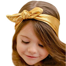 KLV Children's bronzing rabbit ear hair band with Fashion Rabbit Design Elasticity Wash Gold Baby Girl Headband Hair Accessory(China)