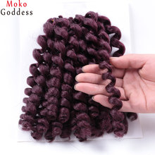 Ali MoKoGoddess Crochet Braids Synthetic Hair Extension Wand Curl 8 Inch 75g/pack 12 Colors Burgundy Braiding Hair Pieces(China)