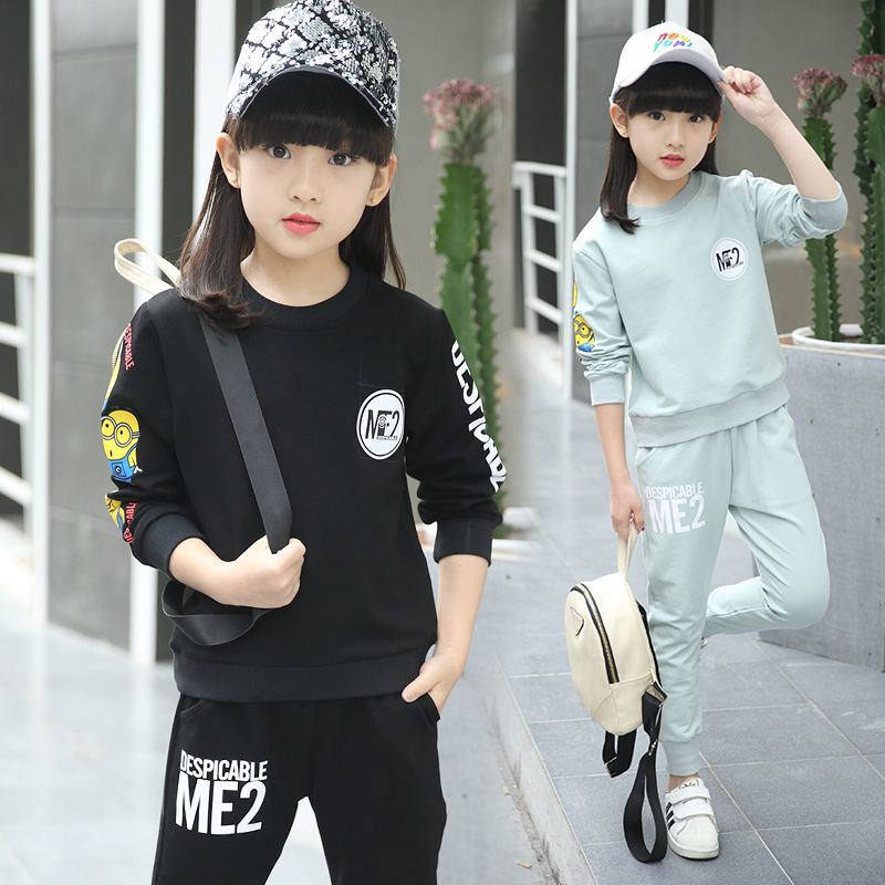 Spring New Style Baby Girl Sport Clothing Set Cartoon Pattern Kid O-neck Hoodies + Pants Children Cotton Solid Clothes Suit 2pcs<br><br>Aliexpress
