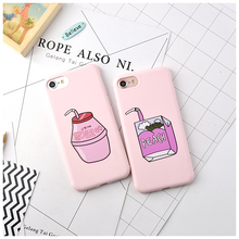 Funny Pink Candy Color Soft TPU Phone Case For Apple iPhone 7 6 S 6S 7 Plus Peach Strawberry Milk Lazy Bones Drink Pattern Cover