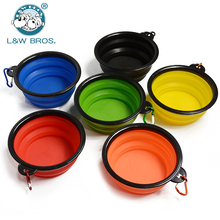 Foldable Silicone Dog Bowl With Hang buckle Water Bowl For Dog Travel Collapsible Puppy Feeding Dishes Dog Food Container(China)
