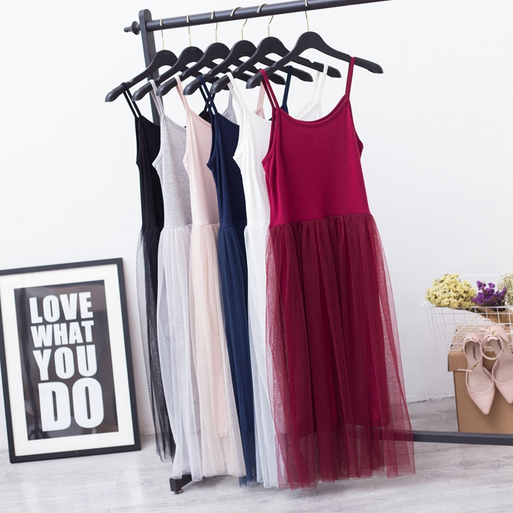 [EAM] 2017 Hot Fashion Pure Cotton Lace Split Joint Camisole Dress,5 colors available YD8100 3