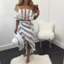 2017 Women Sexy Off Shoulder Crop Tops +Long Skirt Striped Two Pieces Set Ruffles Strapless Tops Women's Tracksuits Suit Sets