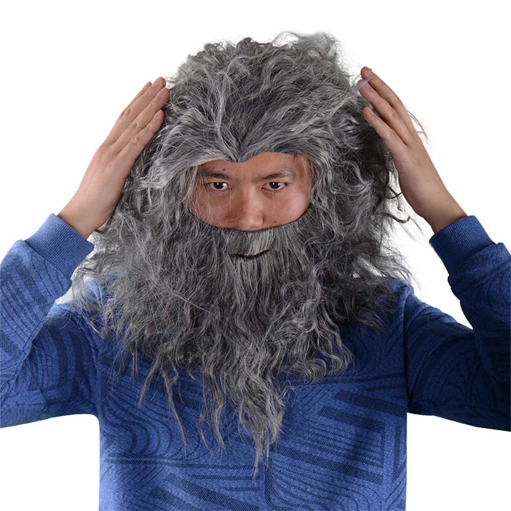 Fancy Dress Costume Wig and Beard Christmas Halloween Wizard Old Man Cosplay