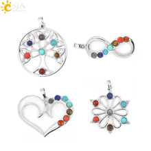 CSJA 7 Chakra Stone Pendant Yoga Healing Point AUM Reiki Chakra Crystal Bead Health Amulet Life Tree Women Flower Pendants E016