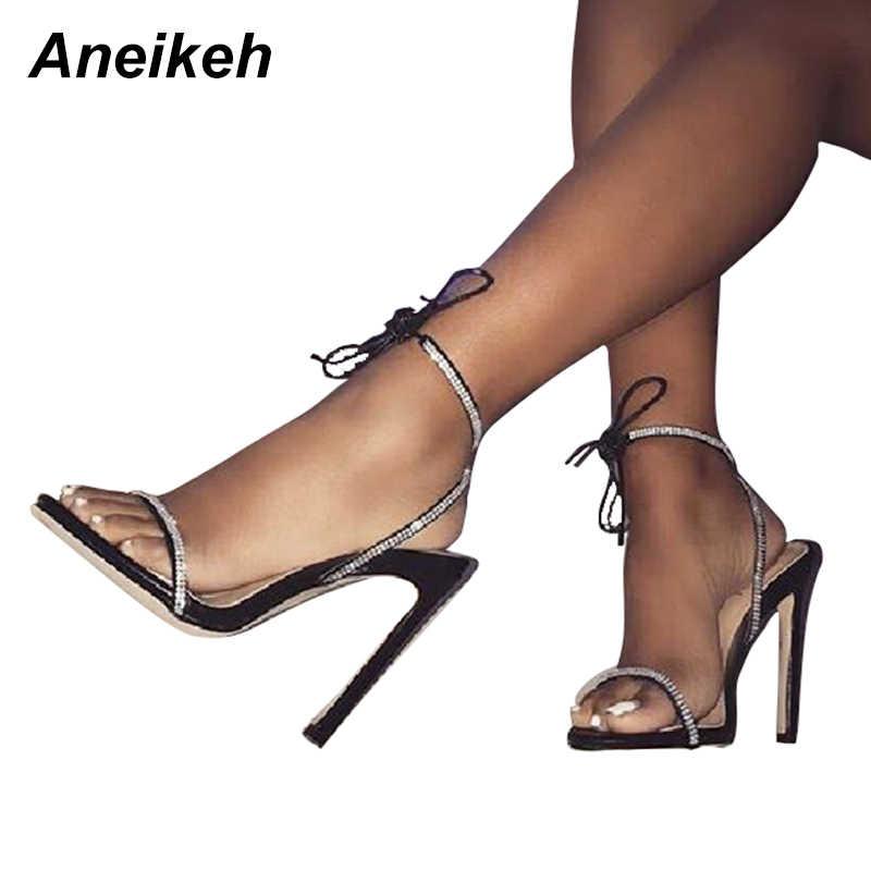 Aneikeh 2018 Summer Women Sandals Rhinestone Straps Sexy Sandals Cross-Strap  Ladies High Heels Elegant eb2e5a1916ea