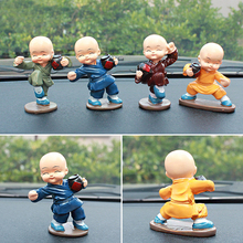 4pcs/Set Kungfu Little Monk Figurines Car Ornament Buddha Crafts Statue Car Interior Decorative Sculptures For Home Office Decor