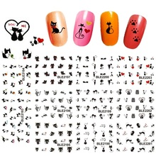 11Designs in 1 Sexy Black Cute Cat Nail Art Water Transfer Stickers Decals DIY Beauty Decal Nail Decoration Tools LABLE2193-2203