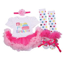Baby Girl 1st Birthday Outfits Short Sleeve Infant Clothing Sets Lace Romper Dress Headband Shoe Toddler Tutu Set Baby's Clothes
