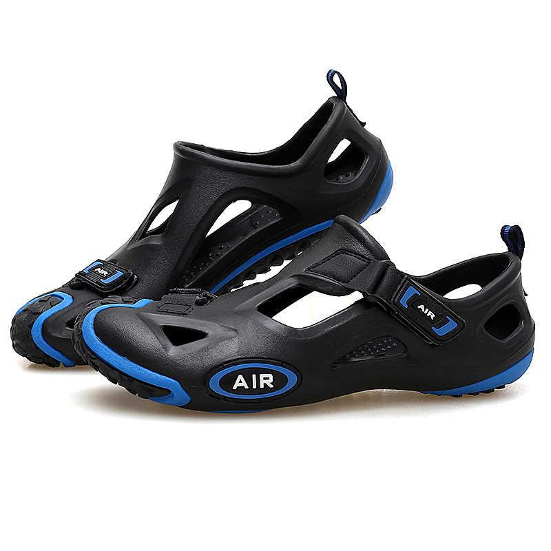 b786e41d8482 Outdoor Sports Beach Sandals for Men Women Shoes Summer Black Blue Rubber  Non Slip Splice Water