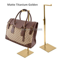 2pcs Free shipping high quality titanium gold stainless steel women bag display rack Tie purse handbag display stand holder rack(China)